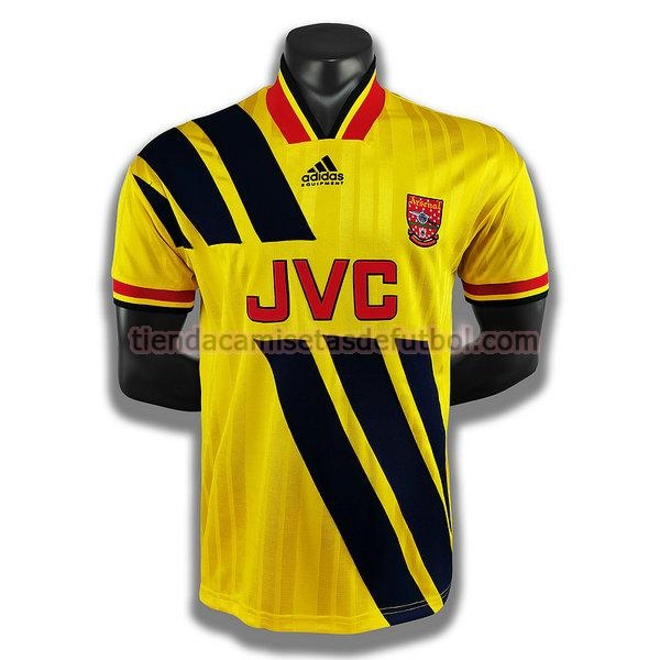 camiseta arsenal segunda player 1993 1994 hombre amarillo