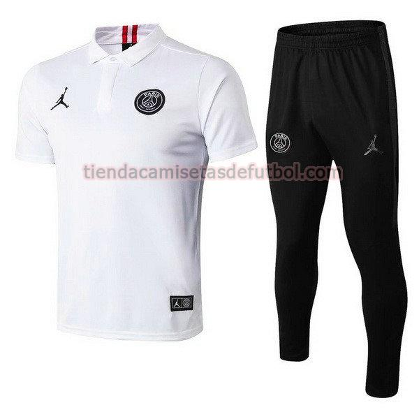 polo paris saint germain jordan 2019 conjunto hombre blanco negro